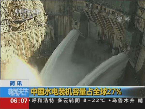 中国水电装机容量占全球27%
