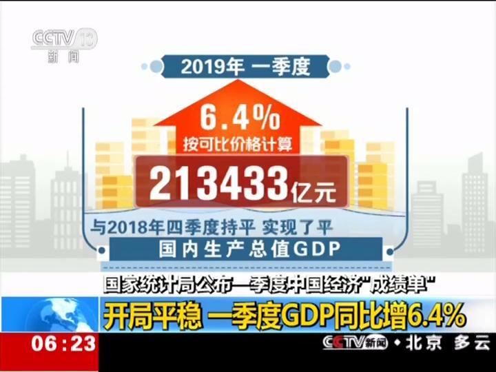 """国家统计局公布中国经济""""成绩单""""一季度GDP同比增6.4%"""
